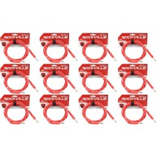 12 Rockville RCTR110R Red 10' 1/4'' TRS to 1/4'' TRS  Cable 100% Copper