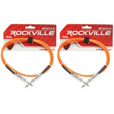 """2 Rockville RCGT3.0O 3'  1/4"""" TS to 1/4'' TS Guitar/Instrument Cable"""