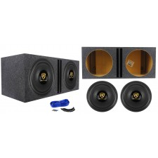 "(2) Rockville W15K9D4 15"" 10,000w Car Audio Subwoofers+Vented Sub Box Enclosure"