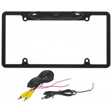 Rockville RBC6B Black Metal IR Night Vision Car License Plate Backup Camera