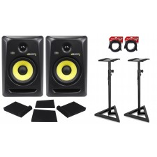 """(2) KRK RP8-G3 Rokit Powered 8"""" Powered Studio Monitors+Stands+MOPAD+4 Cables"""