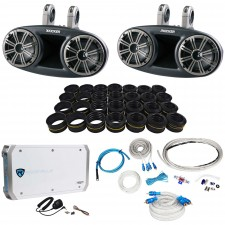 "Kicker 41KMT674 6.75"" Marine Wakeboard Speakers+Tweeters+4 Ch Amplifier+Amp Kit"