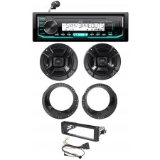 98-13 Harley Davidson FLHT FLHTC JVC CD Receiver+Polk Audio Speaker Upgrade Kit