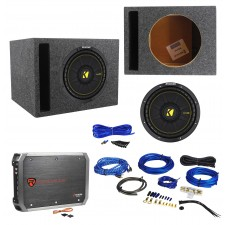 KICKER 44CWCS104 CompC 10 600w Car Subwoofer+Vented Sub Box+Amplifier+Amp Kit
