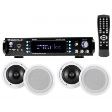 """Rockville RPA60BT Home Theater Bluetooth Receiver + (4) 8"""" In-Ceiling Speakers"""
