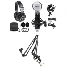 Rockville Podcast Interview Microphone w Broadcast Stand Boom Arm + Headphones
