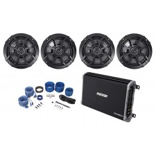 "Kicker 43DXA2504 4-Channel 60Wx4 Car Audio Amplifier+(4) 6.5"" Speakers+Amp Kit"