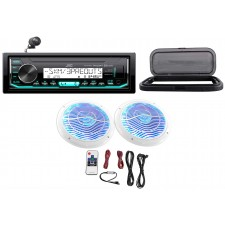 "Hot Tub Audio System w/ JVC Stereo Bluetooth Receiver+2) 6.5""White LED Speakers"