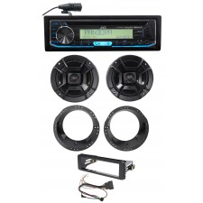 JVC CD Receiver+Polk Audio Speaker Upgrade for 98-13 Harley Davidson FLHT FLHTC