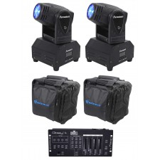 (2) FARENHEIT FH10MH DMX Moving Head Club Stage Lights+Chauvet Controller+Bags