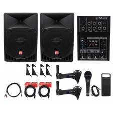"2 Rockville 15"" Powered 1000w Crossfit Gym Workout Speaker System+Mixer+Brackets"