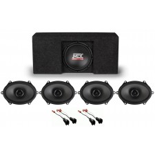 "2009-2015 Ford F-150 Super Crew Cab Active 10"" Subwoofer+Box+Front+Rear Speakers"