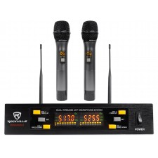 Rockville Dual UHF 15-Ch Metal Handheld Wireless Vocal Karaoke Microphone System
