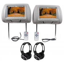 "Tview Pair of T726PL-GR 7"" Grey LCD Car Headrest Monitors + 2 Wireless Headsets"