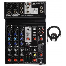 Peavey PV 6BT PV6BT Pro Audio Mixer, 2 Mic In, Bluetooth/USB/Compressor/FX+Cable