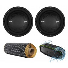 "(2) Polk Audio MM1042DVC 10"" 2400 Watt Car Subwoofers Subs+Rockmat+Free Speaker"