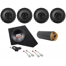 "2007-16 JEEP WRANGLER JK 4-Dr Powered 10"" Subwoofer+Box+MTX Speakers+Rockmat"