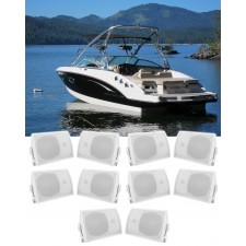 """(10) Rockville HP5S 5.25"""" Marine Box Speakers with Swivel Bracket For Boats"""