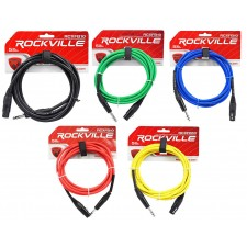 5 Rockville 10' Female Rean XLR to 1/4'' TRS  Cables (5  Colors)