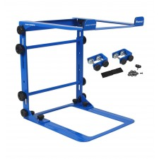 Odyssey LSTANDMBLU Designer Mobile DJ Laptop Stand + Clamps (Foldable) - Blue