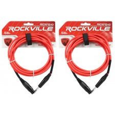 2 Rockville RCXFB10R Red 10' Female REAN XLR to 1/4'' TRS Balanced Cables OFC