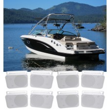"""(8) Rockville HP65S 6.5"""" Marine Box Speakers with Swivel Bracket For Boats"""