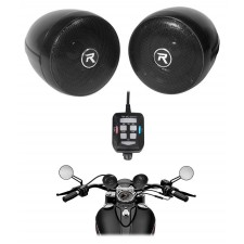 "(2) Rockville RockNRide 3"" Powered Bluetooth Metal Motorcycle Handlebar Speakers"