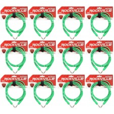 12 Rockville RCTR106G Green 6' 1/4'' TRS to 1/4'' TRS  Cable 100% Copper