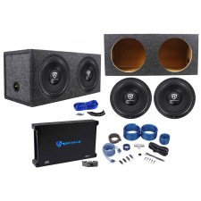 "(2) Rockville W12K6D2 V2 12"" 4800w Subwoofers+Sealed Box+Mono Amplifier+Amp Kit"