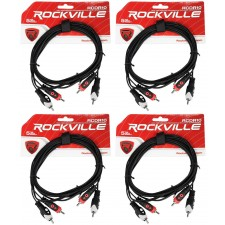 4 Rockville RCDR10B 10' Dual Mono RCA to RCA Patch Cable 100% Copper