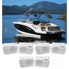 "(6) Rockville HP4S 4"" Marine Box Speakers with Swivel Bracket For Boats"