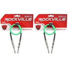 """2 Rockville RCGT1.5G 1.5'  1/4"""" TS to 1/4'' TS Guitar/Instrument Cable"""