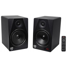 "Rockville HTS8B Pair 8"" 1000W Powered Home Theater Speakers w Bluetooth/FM/USB/SD"