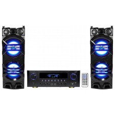 "(2) Technical Pro Dual 10"" 1500w Speakers w/LED's + Bluetooth Amplifier Receiver"