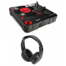 Numark PT01 Scratch DJ Turntable w/ USB/AUX/RCA+Speaker+Samson Headphones