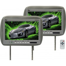 "Pair Of TView T110PL Gray Car Video 11.2"" Headrest Monitors + 2 Remotes"