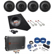 "2007-2016 JEEP WRANGLER JK 4-DOOR Powered 10"" MTX Subwoofer+Box+(4) Speakers+Amp"