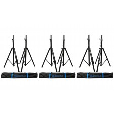 (3) Pairs Rockville Tripod DJ PA Speaker Stands+Carrying Cases - 6 Stands Total