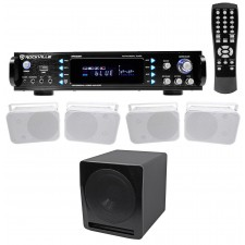 "Rockville 1000w Home Theater Bluetooth Receiver+(4) Speakers+10"" Subwoofer Sub"