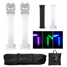 2 Totem Stands+Black+White Scrims For 2 Chauvet Intimidator Beam 355 IRC Lights