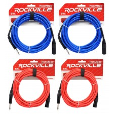 4 Rockville 20' Male REAN XLR to 1/4'' TRS Cable (2 Red and 2 Blue)