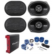 "(4) Hifonics ZS693 6x9"" 1600 Watt Car Audio Speakers+4-Channel Amplifier+Amp Kit"