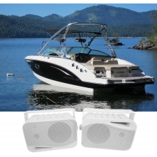 "Pair Rockville HP4S 4"" Marine Box Speakers with Swivel Bracket For Boats"