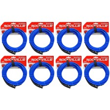 8 Rockville RCXFB25Bl Blue 25' Female REAN XLR to 1/4'' TRS Balanced Cables OFC