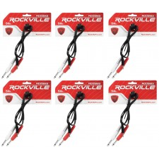 """6 Rockville RCDSM3B 3' 3.5mm 1/8"""" TRS to Dual 1/4"""" Y Cable 100% Copper"""