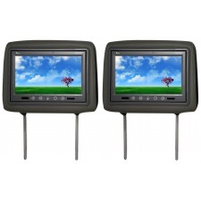 "Pair Of TView T921PL Universal 9"" Gray Headrest Car Video Monitors + 2 Remotes"