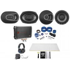 "2) Polk Audio MM692 6x9""+MM652 6.5"" Car Speakers+Amp+Wire Kit+Rockmat+Headphones"