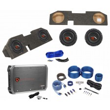 "Dual 10"" Sub Box+Subs+Amp+Wire Kit For 2002-15 Dodge Ram Quad Cab 1500/2500/3500"