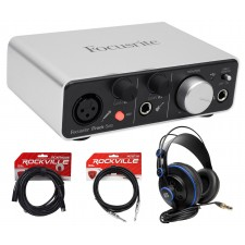 Focusrite ITRACK SOLO LIGHTNING USB Audio Recording Interface+Headphones+Cables