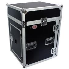 """Pro X T-14MRSS 14U x 10U Slant Combo DJ Rack Flight Case w/ 4"""" Wheels/Casters"""